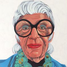 """Portrait of Iris Apfel by artist Gina Julian. 18""""x18"""" 