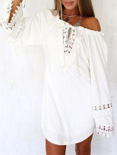 Blusa suelta encaje sin espalda manga larga-blanco