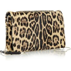 Valentino Leopard-print calf hair clutch, found on polyvore.com