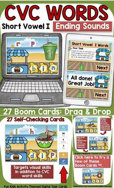 The kids-activity-themed digital Boom Cards will reinforce students' understanding and spelling of final consonants (ending sounds) of CVC Short Vowel I words. Phonemic Awareness Activities, Social Studies Resources, Teaching Phonics, English Reading, Short Vowels, Australian Curriculum, Cvc Words, Letter T, Fun Activities For Kids