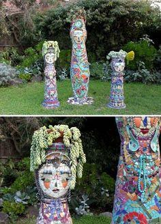 Mosaic Totems By Jadedgold1. Garden MosaicsGarden PotsMosaic ...