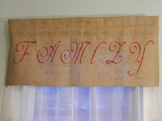 Burlap Family Valance / x by CraftyAmour on Etsy Burlap Window Treatments, Burlap Crafts, Country Crafts, Valance, Red And White, Stencils, Initials, Shabby Chic, Bows