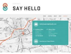 Interesting contact page with oversized map, overlay of contact info, and lack of contact form.