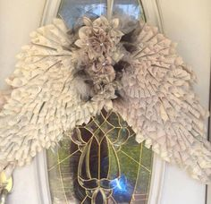 Items similar to ANGEL WINGS Vintage Paper Cone Book Page Wreath on Etsy
