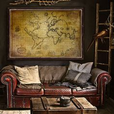 """Pirate map of the World (1657) Old nautical chart up to 54x36"""" (140x90 cm) Grunge world map with ships and beasts, also in blue"""