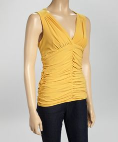 Yellow Ruched Sleeveless Surplice Top