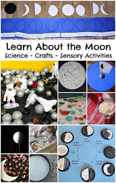 Fun activities to learn about the moon. Moon Science, moon crafts and moon themed sensory activities. Great for pairing with I Took the Moon for a Walk. Science Crafts, Preschool Science, Teaching Science, Science For Kids, Science Projects, Projects For Kids, Moon Projects, Primary Science, Science Fun