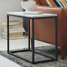 Box Frame Narrow Side Table - Marble