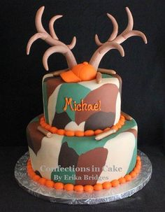Camouflage, deer antler, hunting cake-I imagine Ashley making this for Adrian minus the antlers and add fish