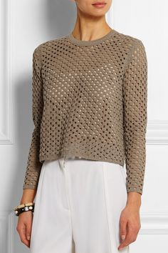 Easy-peasy boxy crocheted sweater from Theory -- come on, you could make this! Alternating squares of dc and virtually zero shaping.