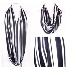 "B59 Black White Stripe Jersey Infinity Scarf Stripe Scarf  Retail $49  Beautiful scarf that is so perfect for year round wear.  Versatile black & white stripe. Stretch jersey fabric.  This scarf is sure to dress up even the most basic outfit!  10"" wide, 35"" long.  Please check my closet for many more items!!!   ‼️ PRICE FIRM UNLESS BUNDLED WITH OTHER ITEMS FROM MY CLOSET ‼️ Boutique Accessories Scarves & Wraps"