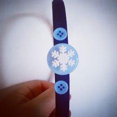 """Cerchietto """"fiocco di neve"""" azzurro"""