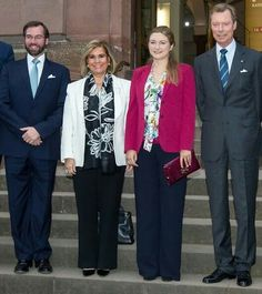 Hereditary Grand Duke Guillaume of Luxembourg, Grand Duchess Maria-Teresa of Luxembourg, Hereditary Grand Duchess Stephanie of Luxembourg, Grand Duke Henri of Luxembourg at the Nero exhibition at Bonn. October 5 2016