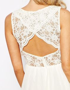 Image 3 ofElise Ryan 2 in 1 Lace Top Skater Dress With Scallop Back