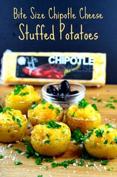 Small Bites For The Big Game – Bite Size Chipotle Cheese Stuffed Potatoes - You must try these stuffed potatoes in you next Super Bowl party or really anytime! Portion controlled, super flavorful, comforting and satisfying.