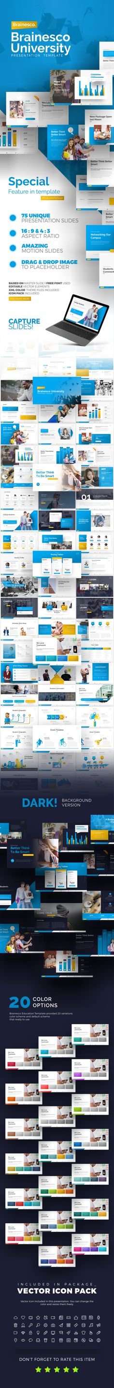 Buy Brainesco Education PowerPoint Presentation Template by BrandEarth on GraphicRiver. Overview: Flat, Clean, Minimalist, Elegant and Flexible PowerPoint Presentation Template, perfect for presentation c. Marketing Presentation, Presentation Design, Project Presentation, Powerpoint Presentation Templates, Powerpoint Presentations, Ppt Template, Office Themes, College Courses, Wordpress Plugins
