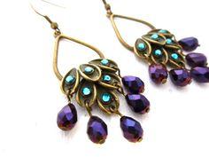 Peacock Chandelier Earrings, Swarovski - by mintlilly, $20.00
