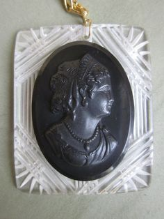 Vintage 1920s Carved Lucite Cameo Pendant Necklace