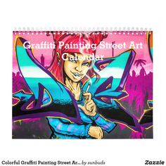 Graffiti Painting, 2021 Calendar, Office Gifts, Medium Art, Gifts For Family, Holiday Cards, Street Art, Colorful, Fictional Characters