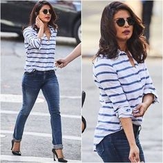 Priyanka Can Be Queen of Casual Whenever She Wants.. In a striped nautical blue and white tee and a pair of worn out denims  #PriyankaChopra looked uber cool as the queen of casual. Her overgrown lob complimented her look and we just love the attitude that goes with the look... Buy the look at https://www.estrolo.com/whatstrending/priyanka-can-be-queen-of-casual-whenever-she-wants/