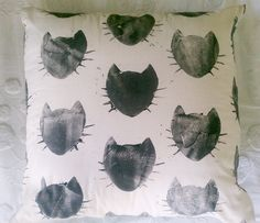 Kitty & Stripe Pillow by BOWERBIRD
