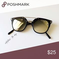 Silver Reflective Black Sunglasses Brand new sunglasses • black frame with silver reflective glass • chic and lightweight. instantdork Accessories Glasses