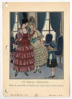 "Children 1880-1920, Plate 074.  Fashion plates, 1790-1929. The Costume Institute Fashion Plates. The Metropolitan Museum of Art, New York. Gift of Woodman Thompson (b17509853)   This children's fashion plate's caption commands: ""Tu diras bonjour"" (You say hello). #fashion"