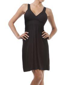 Black Jersey Surplice Dress