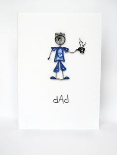 Dad  quilled Fathers Day card blank and handmade by szalonaisa, $7.50