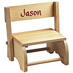"""Wooden Personalized Childrens Chair/Step Stool Combo – Childrens Furniture Ideal for Toy Room, Bedroom, or Bathroom – """"Knotty Pine"""" Wood Kids Stool, Step Stools, Toy Shelves, Wooden Steps, Wayfair Living Room Chairs, Vintage Stool, Personalized Gifts For Kids, Wrought Iron Patio Chairs, Patio Chair Cushions"""