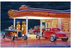 Ford Hot Rod Gas Station Reproduction Sign By Jack Schmitt 12″x18″