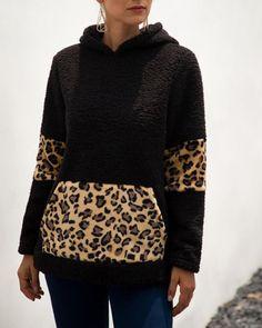 Hooded Leopard Print Pocket Insert Fluffy Sweatshirt Women's Best Online Shopping - Offering Huge Discounts on Dresses, Lingerie , Jumpsuits , Swimwear, Tops and More. Hooded Sweatshirts, Hoodies, Cowl Neck Hoodie, Sweatshirt Outfit, Color Khaki, Fashion Prints, Pattern Fashion, Sleeve Styles, Vestidos