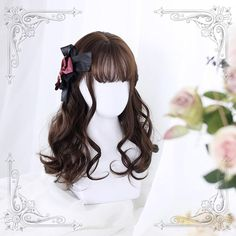wigs (Buy 3 Get 1 For Free) · lolita store · Online Store Powered by Storenvy Short Curly Wigs, Long Curly Hair, Curly Hair Styles, Kawaii Hairstyles, Cute Hairstyles, Braided Hairstyles, Cosplay Hair, Cosplay Wigs, Kawaii Wigs
