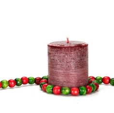 Christmas Wreath Scented Pillar Candle for by JenSanHomeAndBody, $16.50
