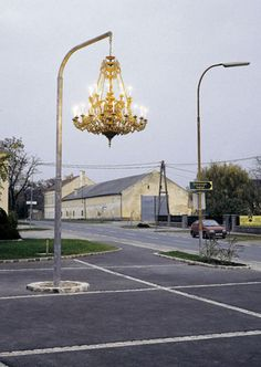 chandelier in a parking lot