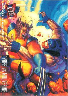 Cyber vs Wolverine by Greg & Tim Hildebrandt | 1995 Fleer Ultra X-Men