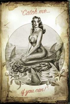 retro MERMAID pin up poster design