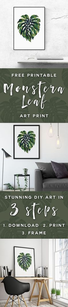 Join the tropical trend and claim your FREE printable Monstera Leaf poster! Available now at MooseAndMarble.com. Tropical wall poster, botanical, monstera leaf, leaves, banana, palm, botanic, art print, art prints, printable, printables, DIY art, extra large art, free, freebies, home decor, succulent, modern leaves print, minimalist, Scandinavian, Scandi, Nordic, instant download, affiche, affiches Scandinave