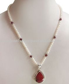 Source Pearl & Ruby Beads Necklace Detroit on m.alibaba.com
