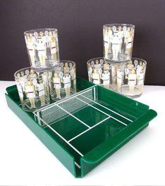 VINTAGE MID CENTURY MODERN HJ STOTTER TENNIS TUMBLER BARWARE GLASS SET & TENNIS COURT TRAY