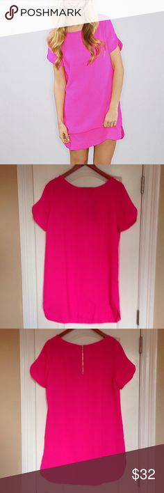 Hot Pink Shift Dress Never worn, NWT. Not Lulu's, tagged for exposure Lulu's Dresses Mini