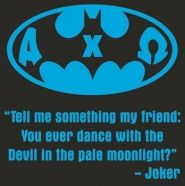 a cool batman design with a joker quote for a superhero formal idea.