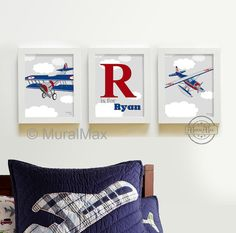 Kids Wall Art - Airplane Nursery Art - Vintage Airplane Art -, Art for Boys,  Boys Pottery Barn nursery art set of three 8 x10