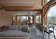 For their modern home in rural New Hampshire, Scott McCullough and Jessica Cook, both architectural designers, sought to update the New England vernacular.