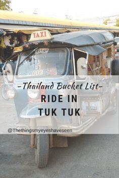 Thailand Bucket List, Ride in Tuk Tuk