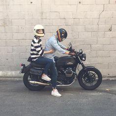 MotorinoさんはInstagramを利用しています:「▫️▫️▫️▫️▫️▫️▫️▫️▫️▫️▫️▫️▫️▫️▫️▫️▫️▫️▫️▫️ Couple of the day☝🏻 ▫️ ▫️ #motoguzzi #motoguzziv7 #motorino #retroworks #style #fashion #lifestyle…」