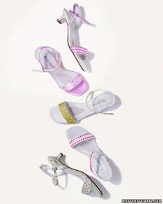 Matching shoes to a dress is easy when you customize them with ribbon.   Wide or narrow ribbons look equally lovely on a pair of basic sanda...