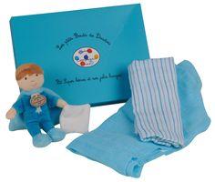Mit Püppchen in blau und Mulltüchern. - Doudou et Compagnie - Ein tolles Geschenkset für Babys und Kleinkinder. - Inhalt: Püppchen, 2 Mulltücher - Maschinenwäsche: bei 30 °C
