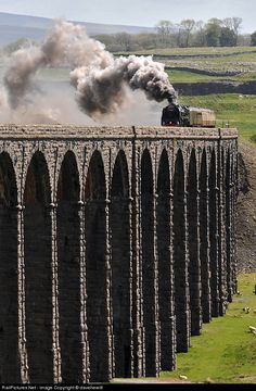 Duke of Gloucester passes over Ribblehead viaduct with a special from York to Carlisle
