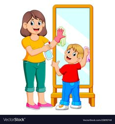 Mother and son cleaning the mirror vector image on VectorStock Sequencing Pictures, Mother Images, Blue Nose Friends, Islam For Kids, School Clipart, Video X, Preschool At Home, Cartoon Pics, Pictures To Draw